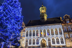 Mons in Belgium. Grand Place with City Hall in Mons in Belgium during Christmas stock photo