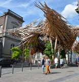 MONS,BELGIUM-July 28, 2016: The Passenger by Arne Quinze. Outside in the street 'Rue de Nimy'  in the center of the city Stock Photo