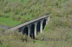 Monsal Head Viaduct, Derbyshire. Closeup of Monsal Head Viaduct, originally built for trains,  in the Peak District National Park, now a feature of the  hiking Royalty Free Stock Images