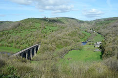 Monsal Head Viaduct, Derbyshire. Panorama of Monsal Head Viaduct, part of the Peak District National Park, used by walkers and hikers, though originally built Royalty Free Stock Photo