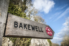 Monsal Trail-Bakewell. Wooden footpath sign for Bakewell on the Monsal Trail, Derbyshire. The trail is an old railway line closed in the 60's Royalty Free Stock Photos