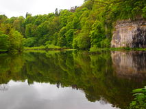 Monsal Valley, White Peak. A tranquil pool at the start of the Monsal Valley walk Stock Photography