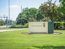 Monsanto corporate headquarters sign. SAINT LOUIS, UNITED STATES - May 16, 2018: Monsanto sign at entrance to corporate headquarters at Creve Coeur campus before royalty free stock photos