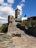 Monsaraz. View of a tower and an old wall to Monsaraz, southern Portugal stock photos
