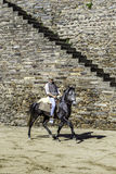 MONSARAZ - APRIL 06: Hästutbildning i den Alentejo staden av Monsaraz Arkivfoto