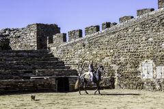 MONSARAZ - APRIL 06: Horse training in Alentejo Town of Monsaraz Royalty Free Stock Image