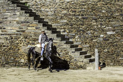 MONSARAZ - APRIL 06: Horse training in Alentejo Town of Monsaraz Royalty Free Stock Photos