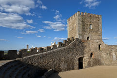 Monsaraz castle in the Alentejo, Portugal. Monsaraz has been inhabited since prehistoric times. It was successively occupied until it was finally conquered from Royalty Free Stock Images