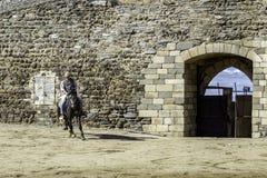 MONSARAZ - 6 DE ABRIL: Entrenamiento del caballo en la ciudad de Alentejo de Monsaraz Foto de archivo libre de regalías