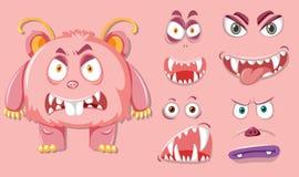 Monsater cor-de-rosa com expressão facial diferente ilustração stock