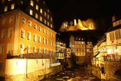 Monschau (Germany) at night. Old town of a small German city of Monschau (Germany) at night Royalty Free Stock Photo