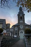 Monschau in Germany. Sunset in Old town Monschau Stock Images