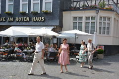 Monschau in Germany with tourists Royalty Free Stock Photography