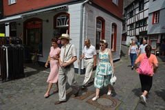Monschau in Germany with tourists Stock Images