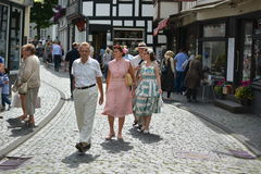 Monschau in Germany with tourists Stock Photo
