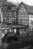 Monschau - historic city in the west of Germany. Historic center of Monschau at the Rur river Stock Images