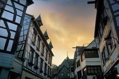 Monschau i Tyskland Arkivfoto