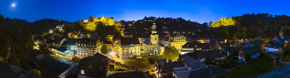 Monschau At Night Panorama, Germany Stock Photography