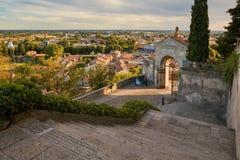 Monselice, Italië - Juli 13, 2017: Mening vanaf bovenkant aan stad met rode daken Royalty-vrije Stock Foto's