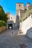 Monselice, Italien - 13. Juli 2017: Fassade des Schlosses von Monselice Lizenzfreie Stockbilder