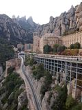 Monserrat Aeri. View of Montserrat, Spain with the funicular track Stock Photography