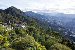 Monserrate, Bogota, Colombia. Thew view from the mountain top at Monserrate, Bogota, Colombia. Reached by cable car, the mountain provides access to wonderful stock photos