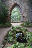 Monserrate-Palastgarten mit Ruinen mit Torbogen durch Ruinensteinwand stockfotografie