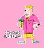 Monsieur Americano Coffee dans le style de hippie Photo libre de droits