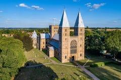Monsieur de Southwell et cathédrale romane photo stock