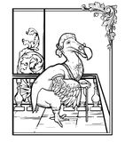 Monsieur Dodo from Alice's Adventures in Wonderland. Hand draw g Royalty Free Stock Photo