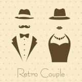Monsieur et Madame dans le style de vintage illustration stock