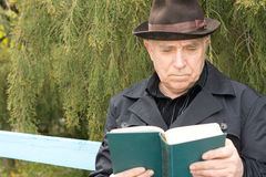 Monsieur retiré lisant un livre Photographie stock