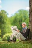 Monsieur supérieur lisant un journal en parc Image libre de droits