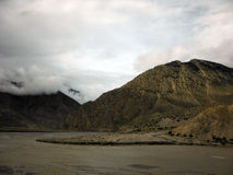Monsoon Clouds and River in Dry Himalayas Stock Photos