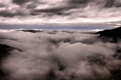 Monsoon clouds from Land`s end - Nainital. stock images