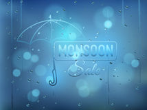 Monsoon offer and sale background  with water drops on window wi Royalty Free Stock Photos