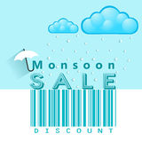 Monsoon offer and sale banner, flyer or poster with rain and open umbrella concept Stock Photos