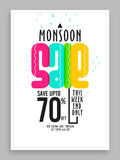 Monsoon Sale Poster, Banner or Flyer design. Stock Photography