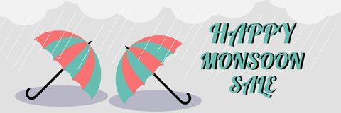 Monsoon sale. Vector illustration of colorful umbrella in  rainy season. There are word `Happy Monsoon Sale`, use for web banner,. Poster or flyer. Picture with Stock Images