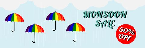 Monsoon sale. Vector illustration of colorful umbrella in  rainy season. There are word `Happy Monsoon Sale`, use for web banner,. Poster or flyer. Picture with Stock Photography
