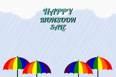 Monsoon sale. Vector illustration of colorful umbrella in  rainy season. There are word `Happy Monsoon Sale`, use for web banner,. Poster or flyer. Picture with Royalty Free Stock Photo