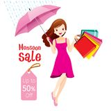 Monsoon Sale, Woman Under Umbrella Jumping With Many Shopping Ba stock illustration