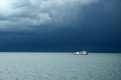 Monsoon season. White ship in monsoon season Stock Photos