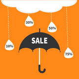 Monsoon season offer. Black umbrella. Cloud with hanging dash line raining drops. 10, 30, 50, 75 persent off. Big sale banner post Stock Photos