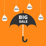 Monsoon season offer. Black umbrella. Hanging dash line raining drops. 10, 30, 50, 75 persent off. Big sale banner poster Flat design. Orange background Royalty Free Stock Photo