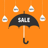 Monsoon season offer. Black umbrella. Hanging dash line raining drops. 10, 30, 50, 75 persent off. Sale banner poster. Flat design Royalty Free Stock Photos