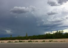 Monsoon Sky. Monsoon storm hovering over the Southwestern desert near Tucson, Arizona Royalty Free Stock Images