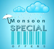 Monsoon special offer and sale banner, flyer or poster with rain and open umbrella concept Stock Photos