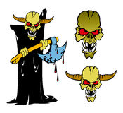 Monster. Cartoon illustration of hornhead monster with axe Royalty Free Stock Images