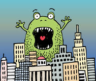 Monster. A big green monster is terrorizing a city, watch out vector illustration